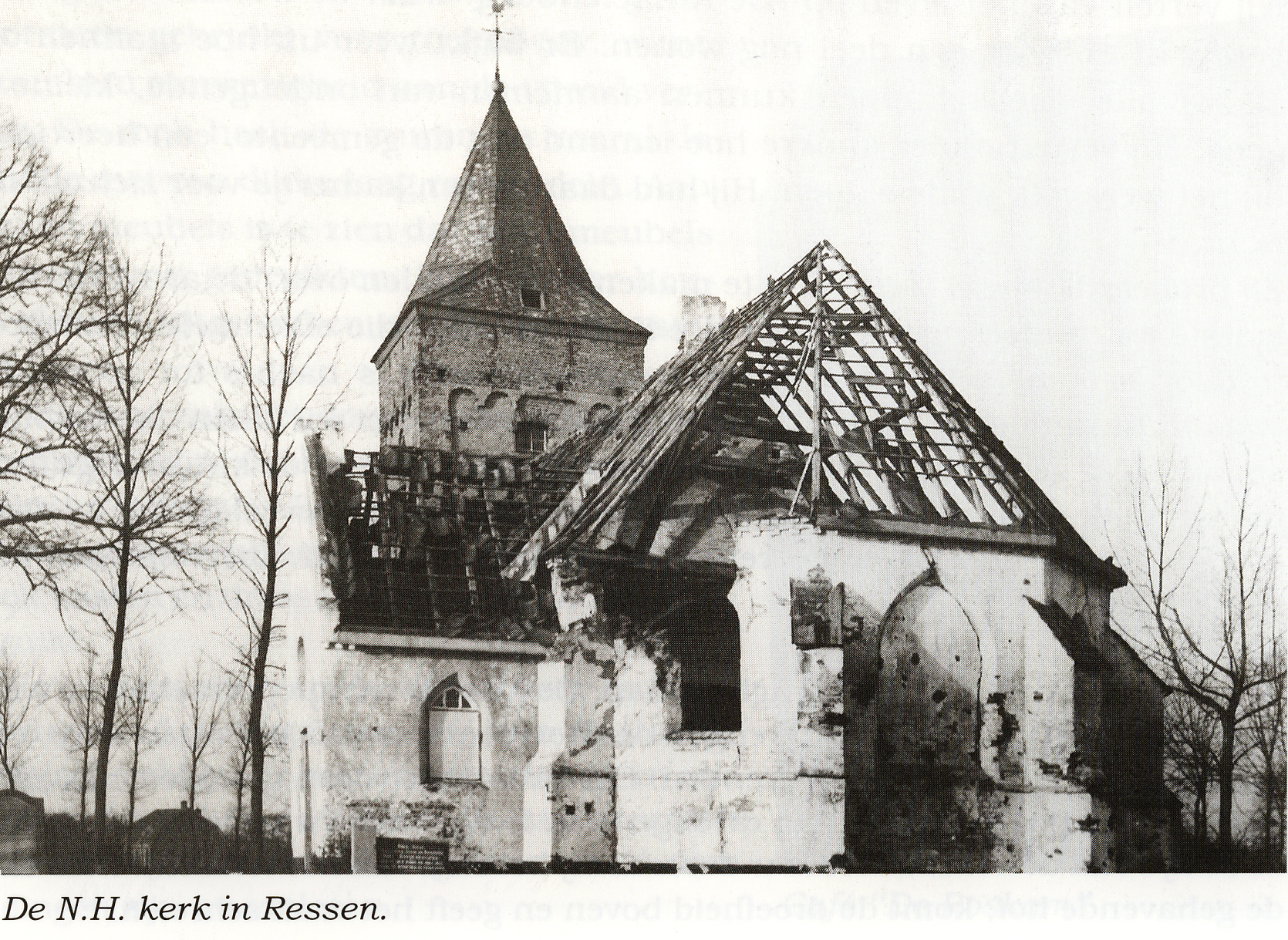 Church of Ressen with war damage